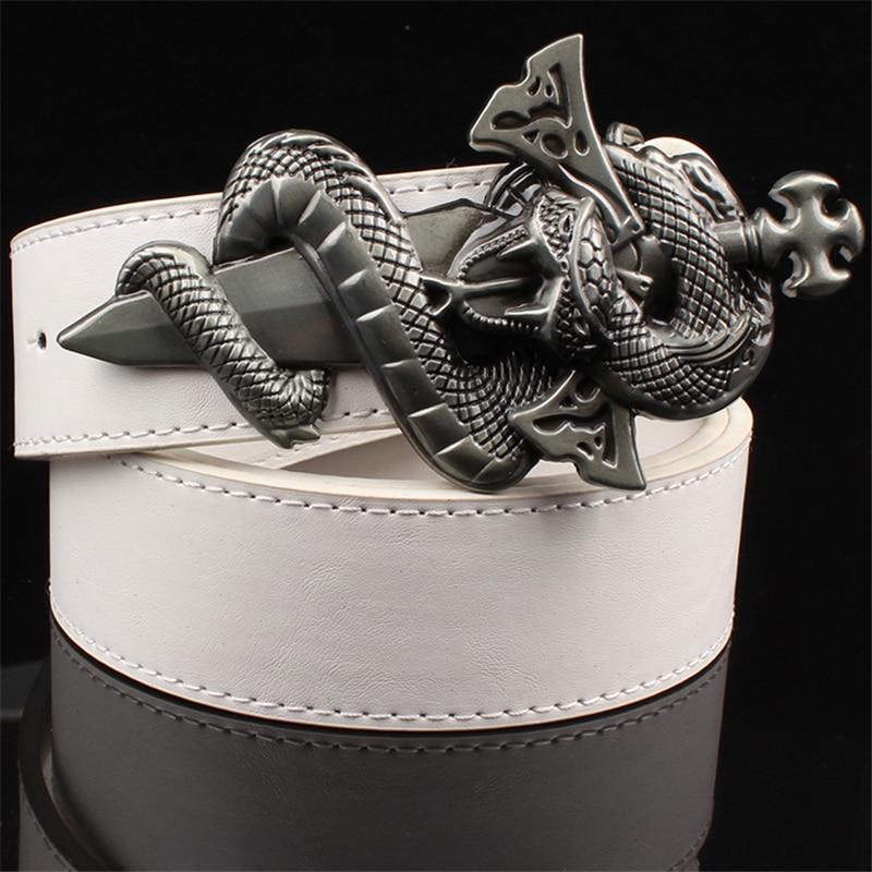 Fashion cool men's belt knife buckle punk belt metal buckle leather belt snake pattern wild sword snake pattern punk rock style