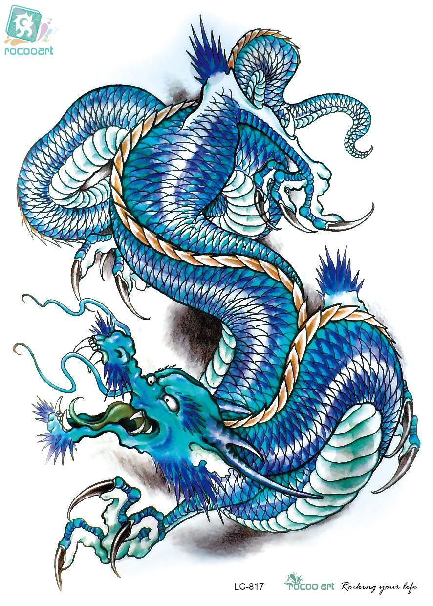 Rocooart LC2817 21*15cm 3D Large Big Tatoo Sticker Sketch Blue Chinese Dragon Painting Cool Temporary Tattoo Stickers New