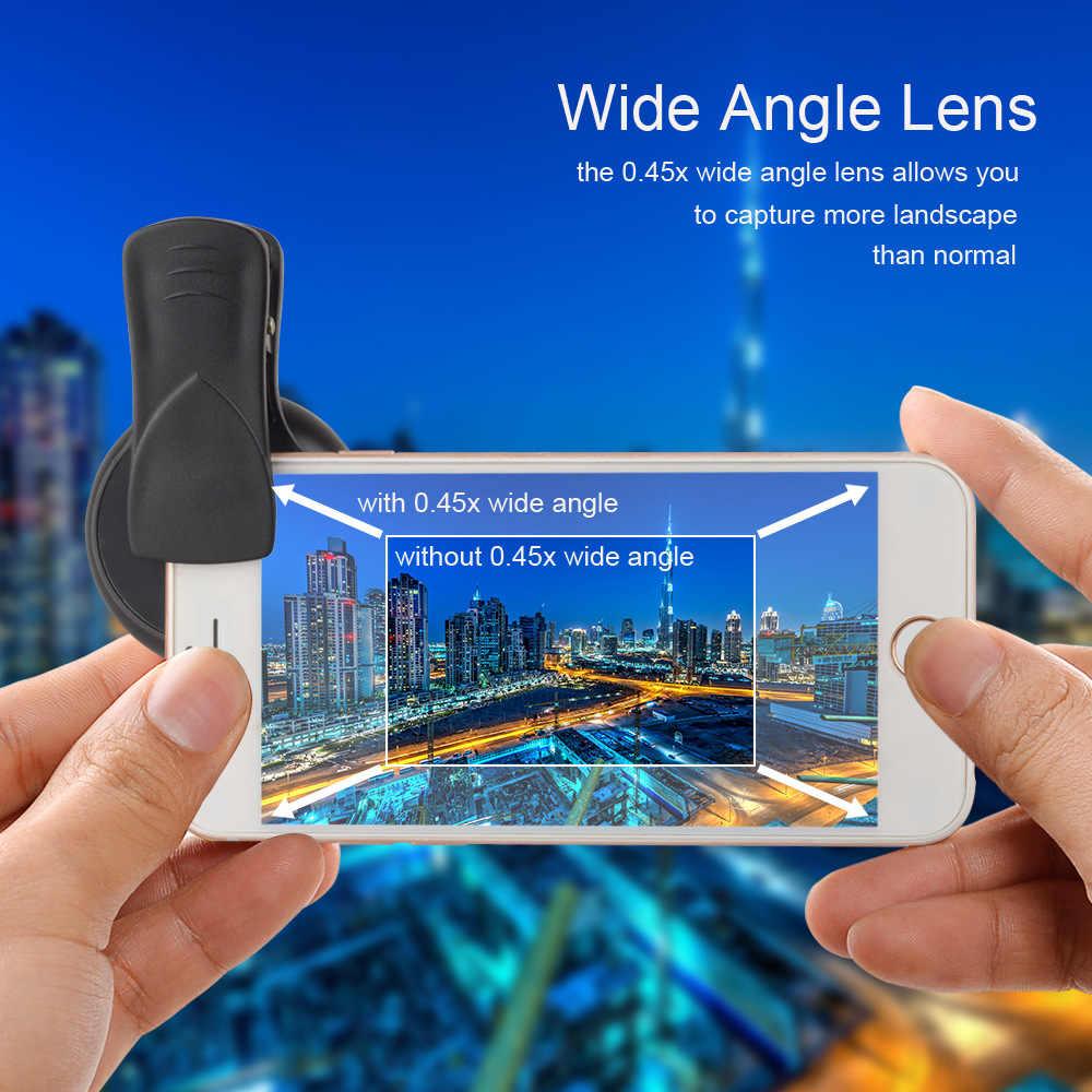عدسة APEXEL 2in1 0.45X بزاوية واسعة + عدسة ماكرو 12.5X عدسة كاميرا هاتف احترافية عالية الدقة لهواتف iPhone 8 7 6S Plus شاومي سامسونج LG