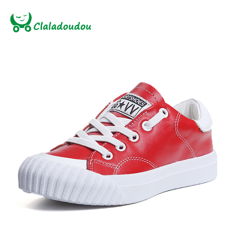 Claladoudou Spring Autumn Children font b Sneakers b font Genuine Leather Red Girls Running Shoes Waterproof