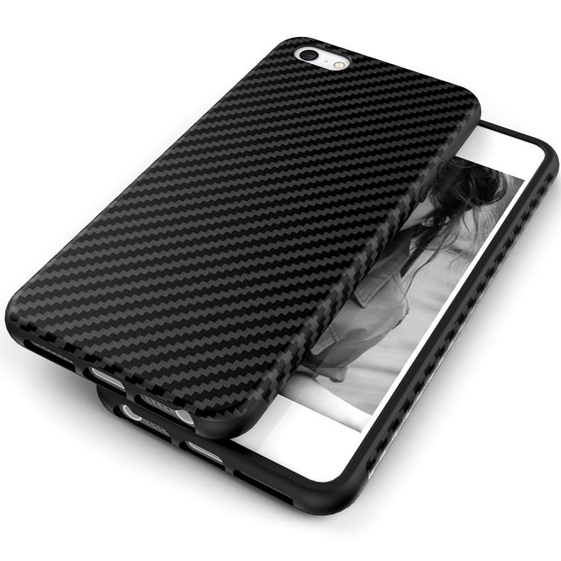 Luksusowe Elegent Wysokiej Jakości Włókna Węglowego Miękki Futerał Dla iPhone 5 5S SE Skórzana Skóry Tekstury Opon 3D Obrońca Pokrywa Dla iPhone SE 6