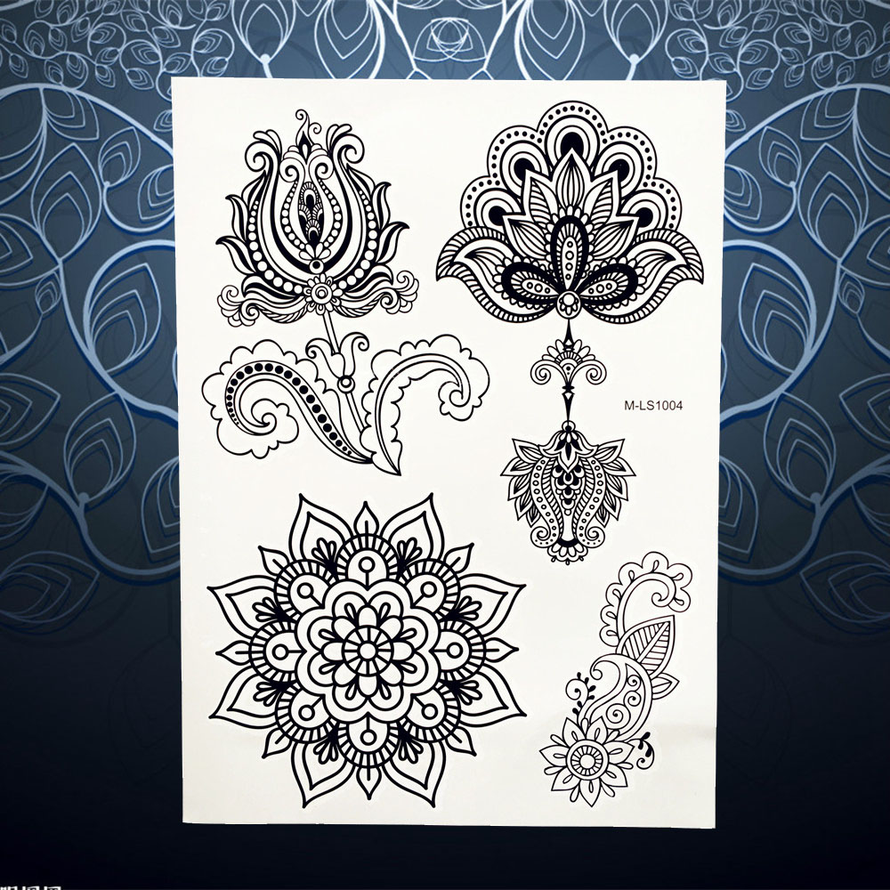 Healthy Waterproof Fake Mehndi Tattoo Black Henna Flower Design