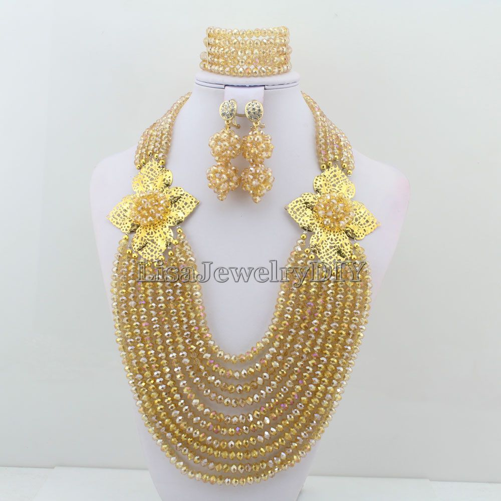 Popular Nigerian Wedding Bridal Jewelry Sets Crystal Beads Necklace Sets African Beads Jewelry Sets HD3322Popular Nigerian Wedding Bridal Jewelry Sets Crystal Beads Necklace Sets African Beads Jewelry Sets HD3322