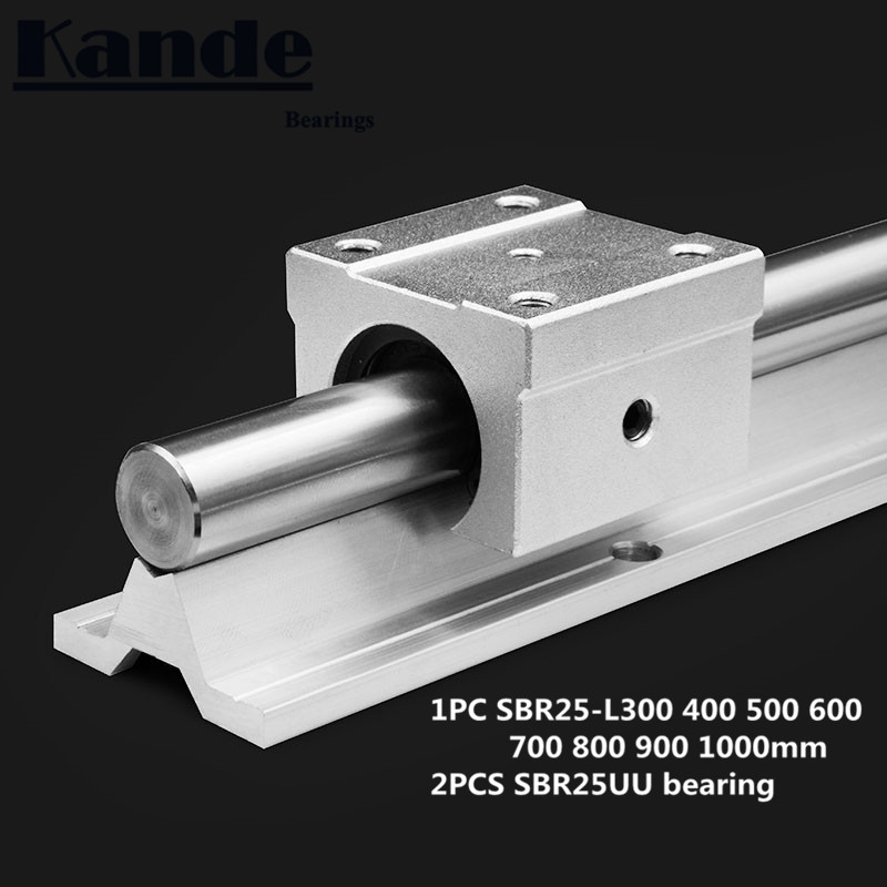 linear rail 25mm SBR25 - 300 400 500 600 700 800 900 1000 mm  1 pc  linear guide SBR25 + 2 pcs SBR25UU blocks for CNC linear rail 25mm SBR25 - 300 400 500 600 700 800 900 1000 mm  1 pc  linear guide SBR25 + 2 pcs SBR25UU blocks for CNC