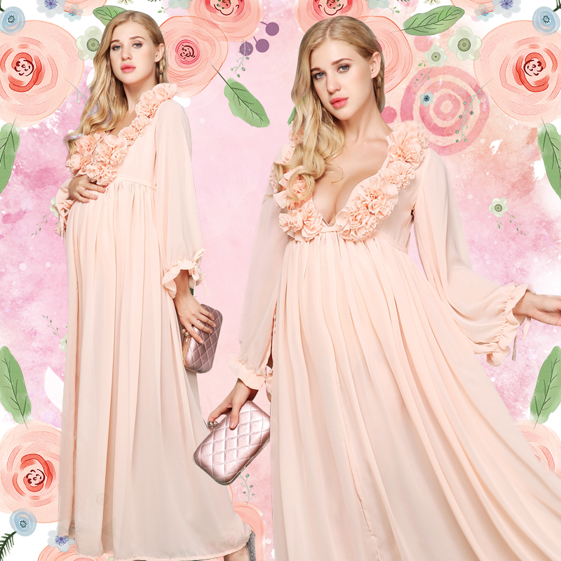 Maternity dress with flower Pregnant dress Photography Props Chiffon Dresses for Pregnant Women graceful pregnancy dress RQ131 graceful sleeveless spaghetti strap chiffon floral print beach dress for women