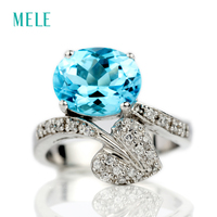 Natural Blue Topaz Silver Ring Oval Shape 8mm 10mm Deep Blue Color And Romantic Design Spring