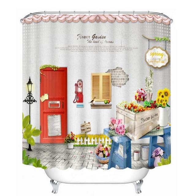 Cortina de baño lavable a prueba de agua con diseño pueblo calle con flores con cortina de ducha