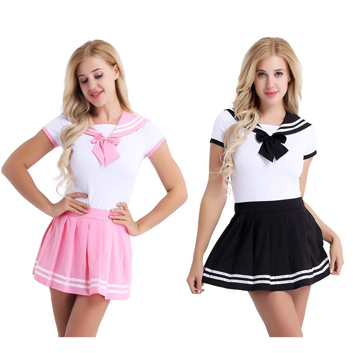 Image 2 - Iiniim feminino adulto roupas de bebê aberto virilha escola meninas sexy macacão com mini saia plissada cosplay trajes festa clubwearFantasias Sexy   -