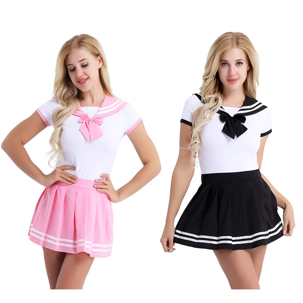 Image 2 - iiniim Women Adult Babies Clothing Open Crotch School Girls Sexy Romper with Mini Pleated Skirt Cosplay Costumes Party ClubwearSexy Costumes   -