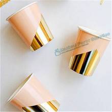 120pcs Metallic Gold and Pastel PParty Paper Cup Beverage Drinking Cups for  Bachelor Cocktail/Dating Show/Wedding Party