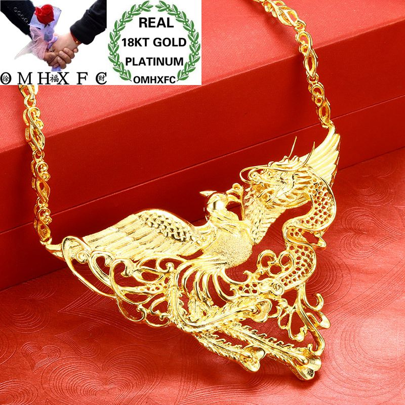 OMHXFC Wholesale European Fashion Woman Bride Party Birthday Wedding Dragon Phoenix 18KT Gold Pendant Necklace EX83OMHXFC Wholesale European Fashion Woman Bride Party Birthday Wedding Dragon Phoenix 18KT Gold Pendant Necklace EX83