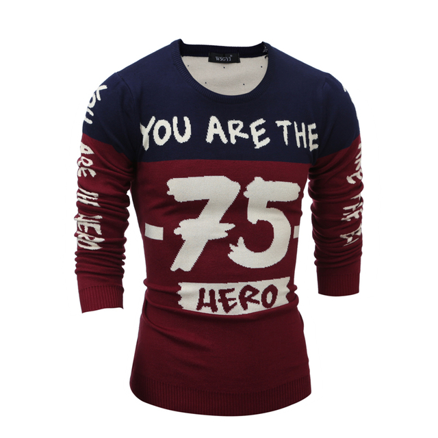 2016 fashion letter print mens pullover sweaters good quality long sleeve knitting patterns mens sweaters size 2xl