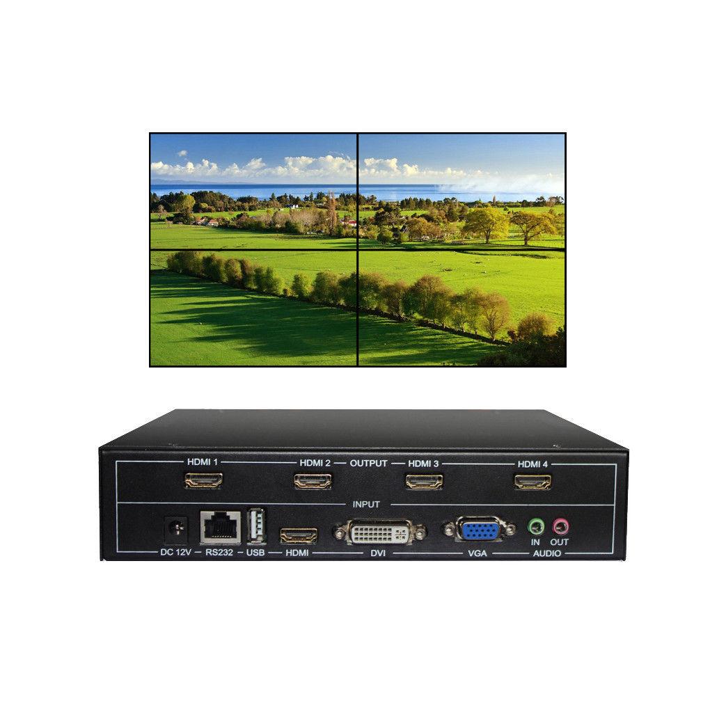 купить ESZYM 4 Channel TV Video Wall Controller 2x2 1x3 1x2 HDMI DVI VGA USB Video Processor по цене 18668.71 рублей