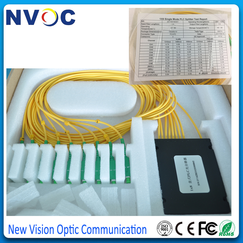 2 Pack of FTTH PLC Fiber Optic Splitter SM Single Mode with Connectors 1x8 SC-UPC Branching Cable 2 Pack of FTTH PLC Fiber Optic Splitter SM Single Mode with Connectors 1x8 SC-UPC Branching Cable