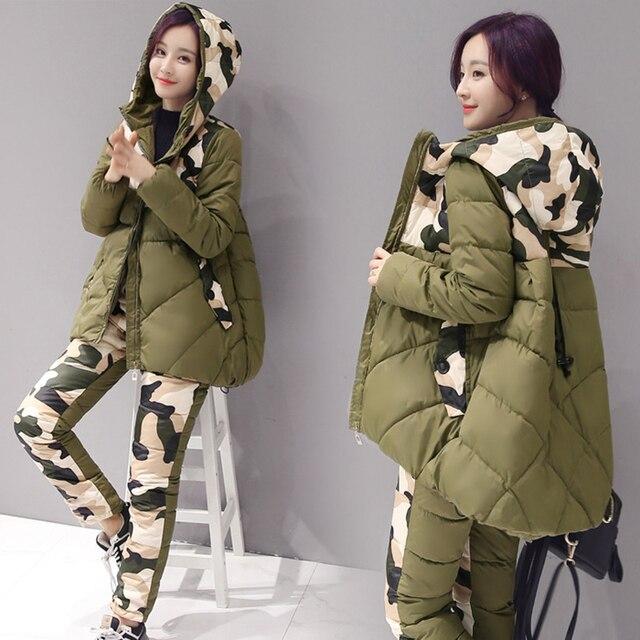 Invierno Nuevas Mujeres de la Llegada de Camuflaje Abajo de la Capa Twinset Wadded Chaqueta Chaqueta de Algodón Acolchado Abajo Pantalón de Vestir 2 Unidades