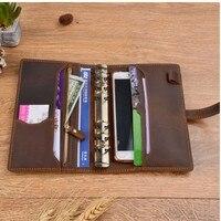 Handnote Vintage Genuine Leather Notebook Diary Travel Journal Planner Sketchbook Agenda DIY Refill Paper School Birthday Gift