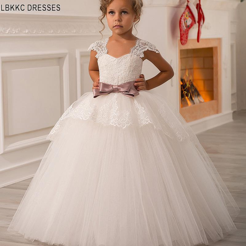 Ball Gown   Flower     Girl     Dresses   Long Cap Sleeve Applique Lace Holy Communion   Dresses   Vestidos Primera Comunion Para Ninas 2019