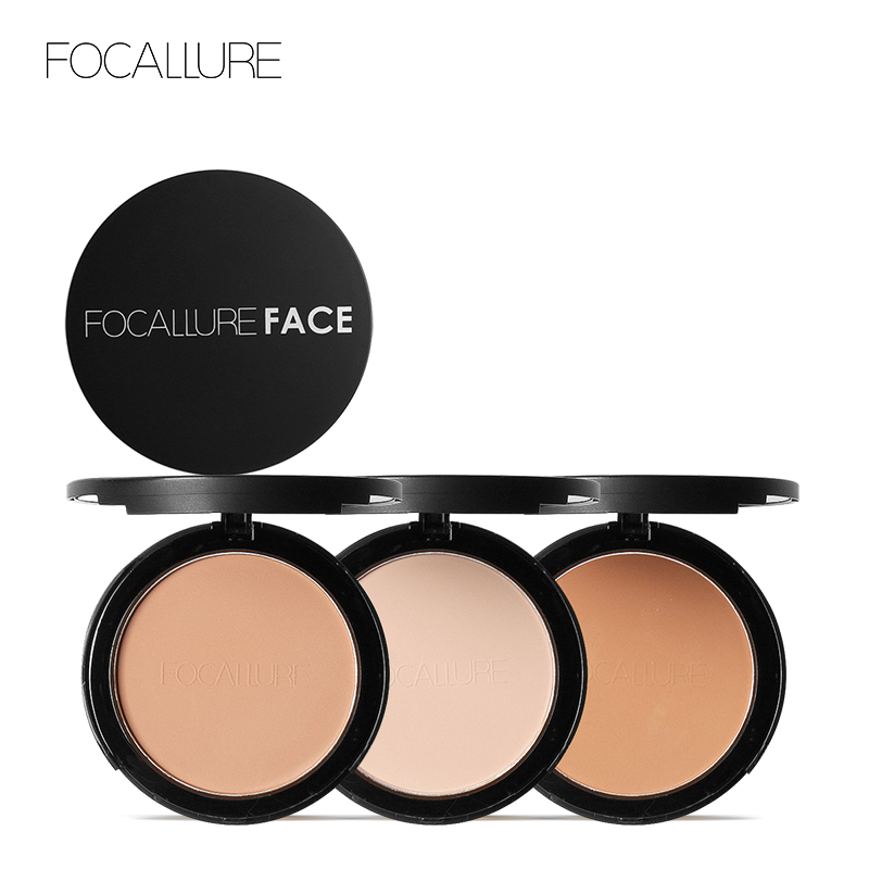 Focallure Fix Pressed Powder Palette Oil-Control Face Contour Concealer Cover Mineral Foundation Nude Compact Powder Cosmetics thermometer