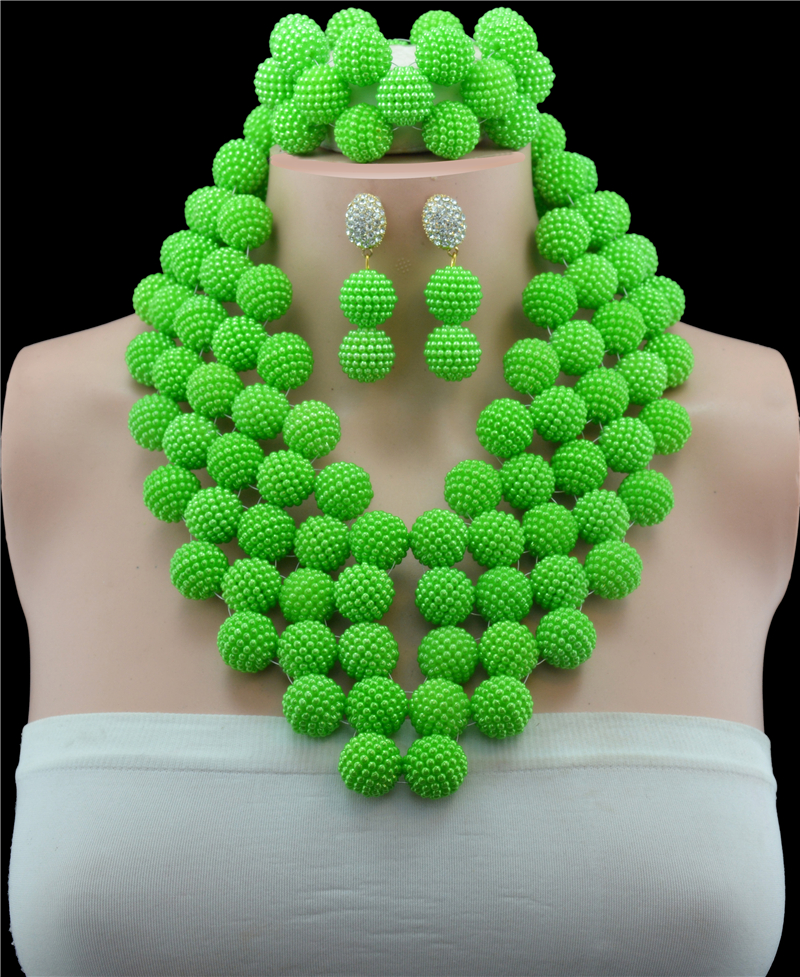 Green Imitation Pearl African Beads Jewelry Set Beads Necklace Set African Jewelry SetsGreen Imitation Pearl African Beads Jewelry Set Beads Necklace Set African Jewelry Sets