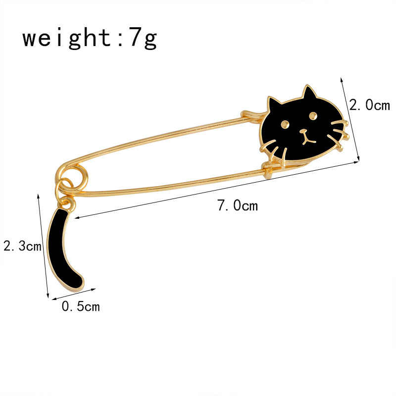 Lucu Kucing Hitam dan Putih Minyak Turun Indah Bros Pins, Fashion Perhiasan Grosir