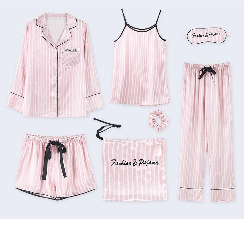 Fashion Sleepwear Pajamas for Women Sleepwear Pyjamas Women Silk Casual Home Wear Women 7pcs Pajama Sets