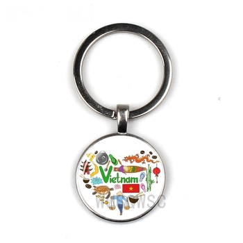 2019 New National Style Key Chain Vietnam Impressionist Keychain Glass Round Keyring Silver Black Bronze Keychain Jewelry Сумка
