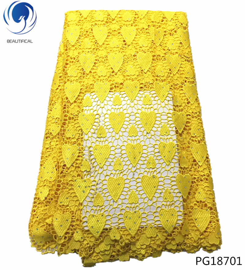 BEAUTIFICAL yellow lace fabric guipure lace fabric with rhinestones corded african lace fabric 5 yards yellow high quality PG187 in Lace from Home Garden