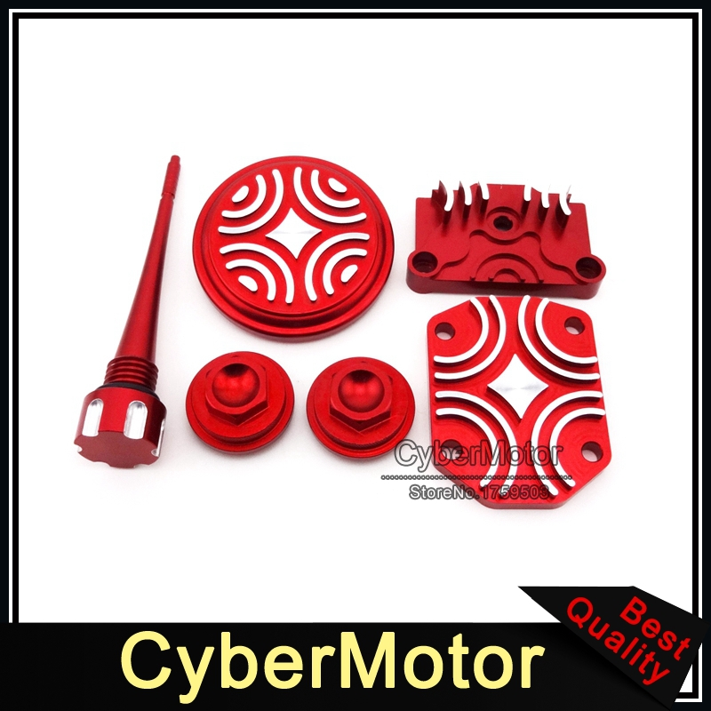 Pit Dirt Motor Bike Red Engine Dress Up Kit Valve Cap Cover For 50cc 70cc 90cc 110cc 125cc Chinese Motorcycle ATV Quad motorcycle rear hydraulic brake master cylinder pump for 50cc 70cc 110cc 125cc 150cc 250cc thumpstar atv pit pro dirt bike