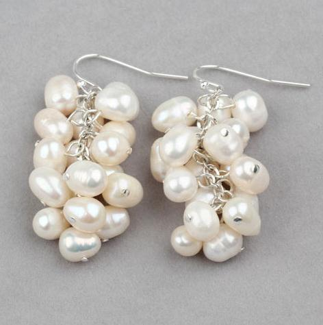 98d63c999 Cluster Earrings Perfect 100% Real Pearl Dangle Earrings,Wedding Party  Jewelry,Natural Freshwater Pearl Jewelry,Sterling Silver
