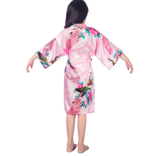 11 colors Girls satin kimono robes wedding bridesmaid party girls silk bathrobes peacock nightgown sleepwear solid girls robres