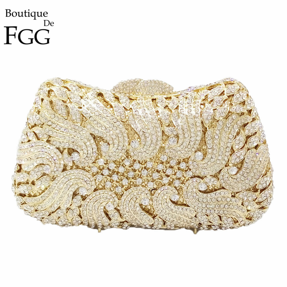 Dazzling Gold Plating CLear Crystal Rhinestones Women Mini Evening Clutches Shoulder Bags Hardcase Wedding Dinner Clutch Purse gold plating floral flower hollow out dazzling crystal women bag luxury brand clutches diamonds wedding evening clutch purse
