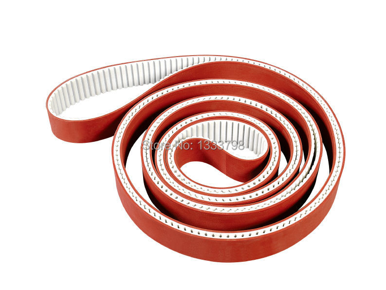 Fit for glass industry 3mm thickness red rubber coation timing belt, closed belt with steel core 15mm width t5 steel core endless timing belt closed loop pu belt