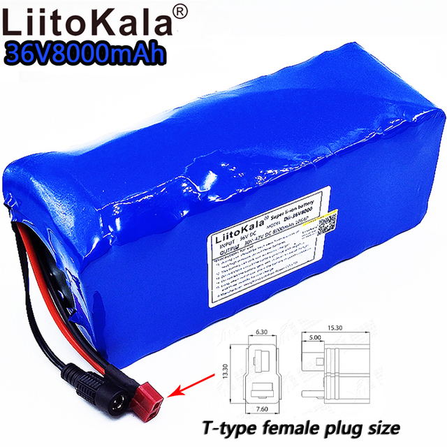 LiitoKala 36v8ah electric bicycle lithium ion battery 18650 42V 8000mAh 10S4P large capacity battery pack bms 500W overcurrent