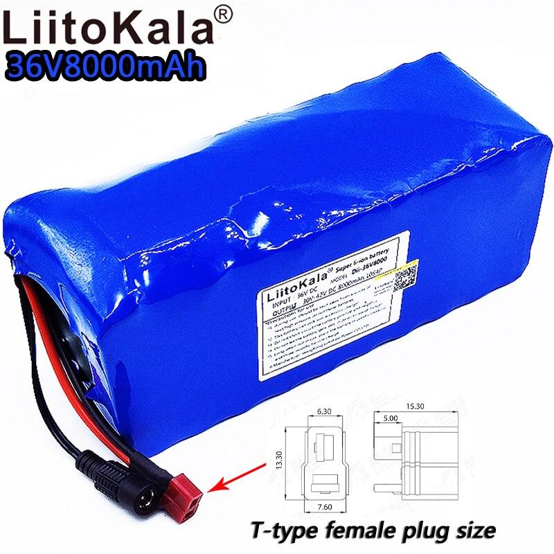 LiitoKala 36v8ah vélo électrique lithium ion batterie 18650 42 V 8000 mAh 10S4P grande capacité batterie pack bms 500 W surintensité
