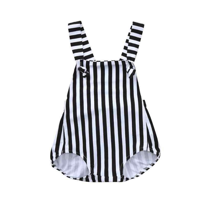 Bebé mamelucos unisex negro blanco a rayas de algodón de una pieza mameluco de verano recién nacido Ropa feliz dulces niños #1