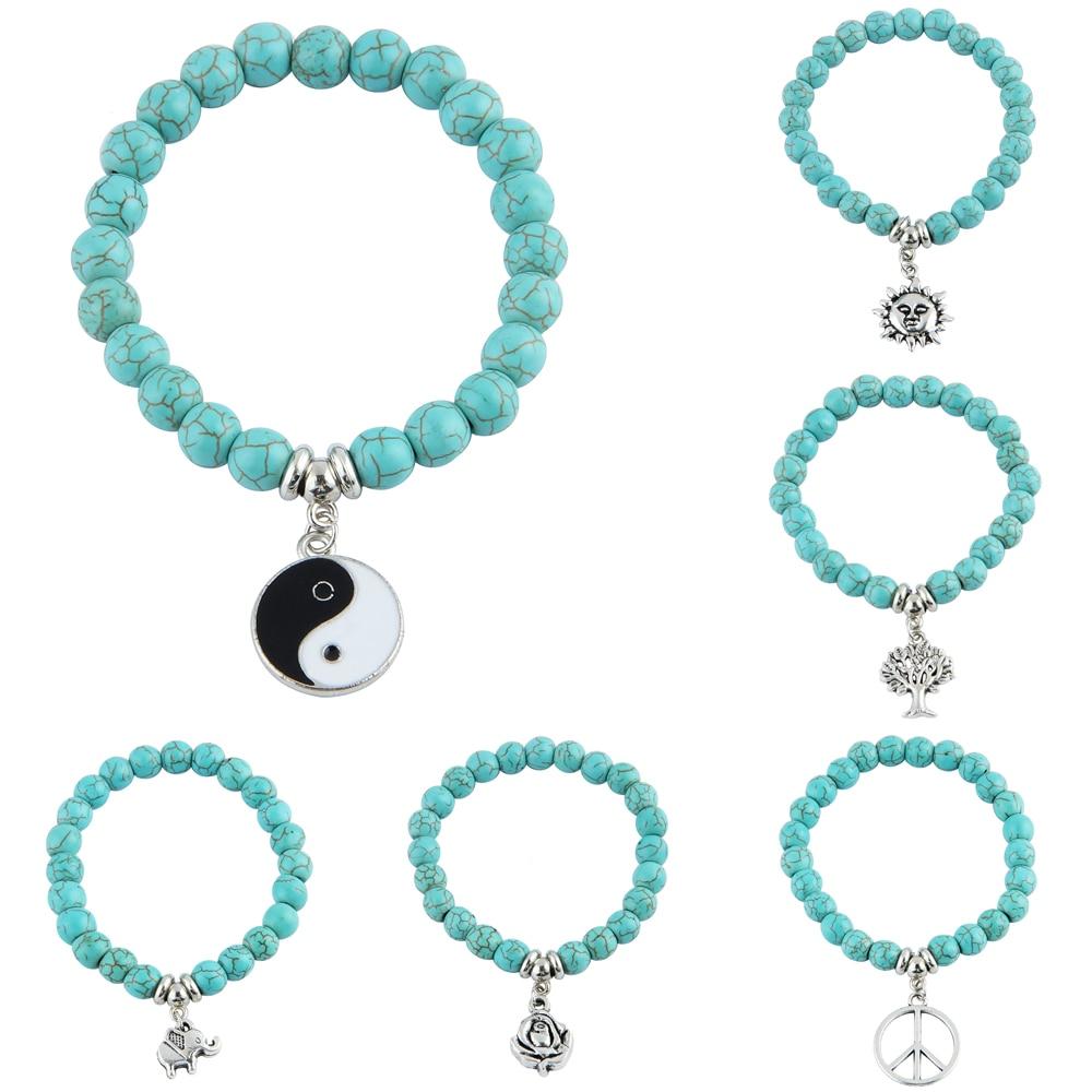 Africain Turquoise 6 mm Perles Ronde Bijoux Perles Gemme 1 Strang