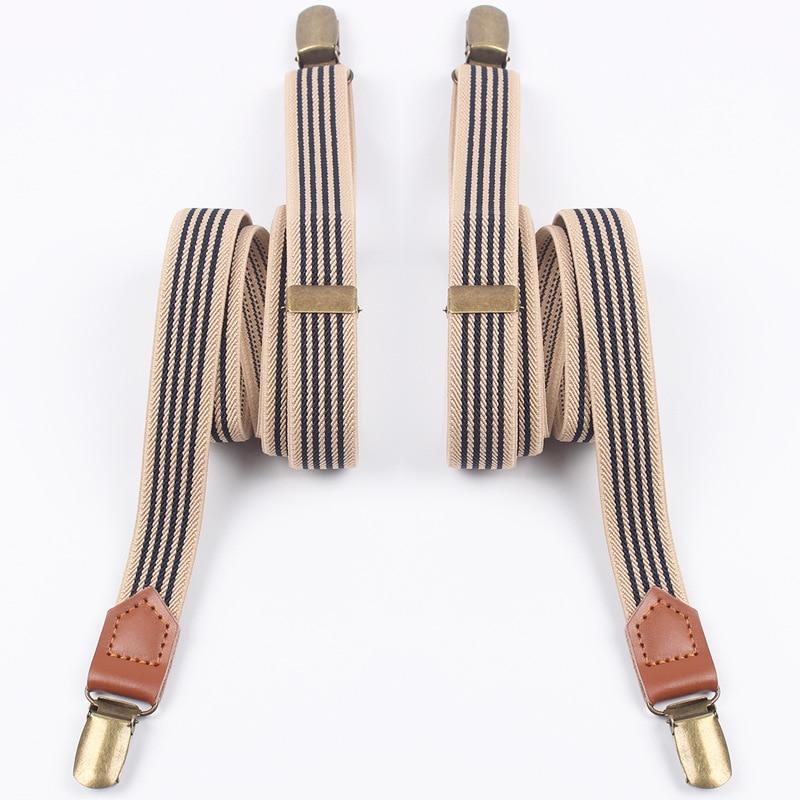 Mantieqingway Adult Men's Striped Clip-on Suspenders For Womens Adjustable Braces Belts Suspenders For Vestidos Elastic Belts