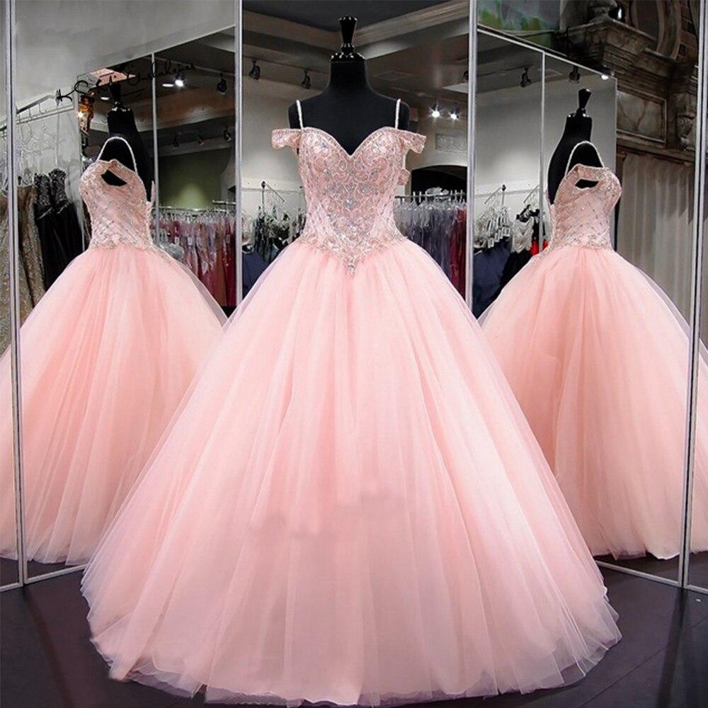 Dlass rose de luxe robe de bal Quinceanera robe 2019 grande taille Sexy robe de bal robe perlée robes de Debutante Ballkleid
