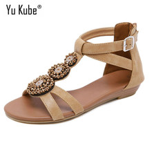 Yu Kube Summer Shoes Woman Sandals Bohemia Sandalias Mujer 2019 NEW Open Toe Wedges Shoes For Women Gladiator Sandals Plus Size(China)
