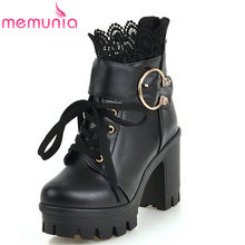 MEMUNIA 2019 heißer verkauf knöchel stiefel frauen runde kappe pu zipper herbst winter stiefel mode plattform stiefel platz high heels schuhe(China)