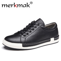 Merkmak 2019 Casual Shoes Men Fashion Handmade Vintage Shoes Brown Brand Male Shoes Genuine Leather Men's Leisure Shoes