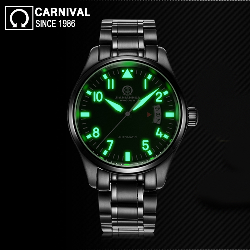 Carnival Super Luminous 25 Jewels Automatic Watch Men Black Stainless Steel Mechanical Watches Waterproof Mens Clock