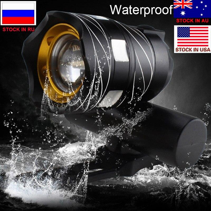 ZK30 T6 LED Fietslicht Bike Front Lamp Outdoor Zoomable Torch Koplamp USB Oplaadbare Ingebouwde Batterij 15000LM