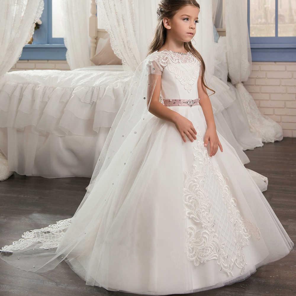 Elegante vestidos da menina de flor para casamentos 2019 vestidos daminha menina rosa vestidos árabe em dubai primeira comunhão vestidos para meninas