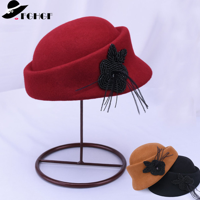 051806378b6 FGHGF Women Beret Hat Wool Felt Winter Cap Elegant Pillbox Hat with Mini  Black Peals Adorn Ladies Dress Church Fedoras Black Red
