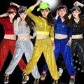 Para mujer trajes de baile moderno jazz dance hip hop danza ropa lentejuelas adultos cumpliendo el servicio equipo de la etapa chaqueta y pantalones