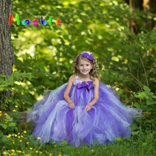 Moeble Purple Ankle-length Girl Flower Dresses Kids Children long Tulle Tutu Dress Wedding Birthday Party Clothes Ball Gown Gift