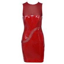 Free Shipping Women PU Leather Dress 2016 New Fashion Red Clossy Stretch Vinyl&Mesh Dress Bodycon