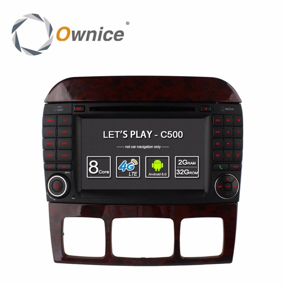 4G SIM LTE Android 6.0 Octa Core 2 GB di RAM Lettore DVD Dell'automobile per Mercedes Benz S Classe CL W215 W220 S280 S320 S430 S500 GPS Radio