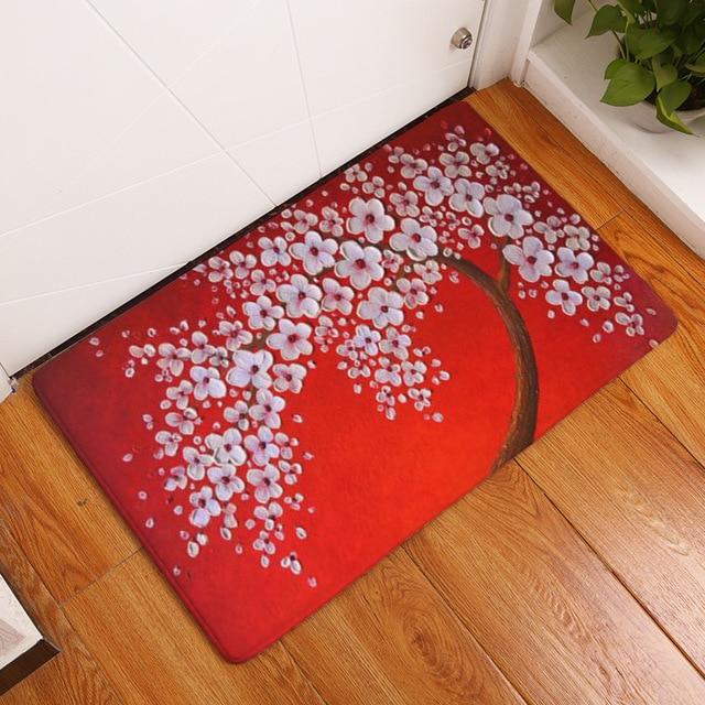 Innenbodenmatte Malerei Baum Printed Fußmatte Wildleder Matte Im Freien  Dekoration Badezimmer Teppich Badematte Wc Teppiche Heißer